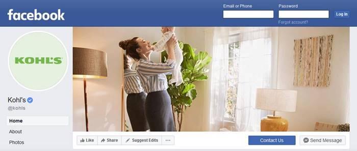screenshot of Kohl's facebook fan page
