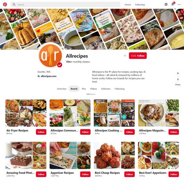 screenshot of Allrecipes Pinterest boards