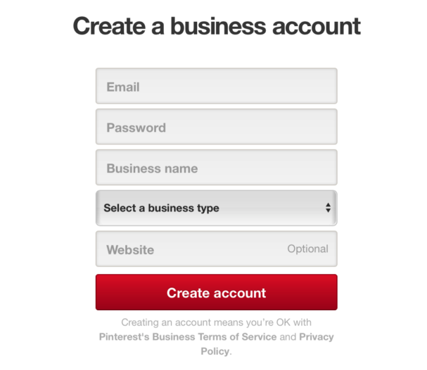 screenshot of Pinterest account creation page