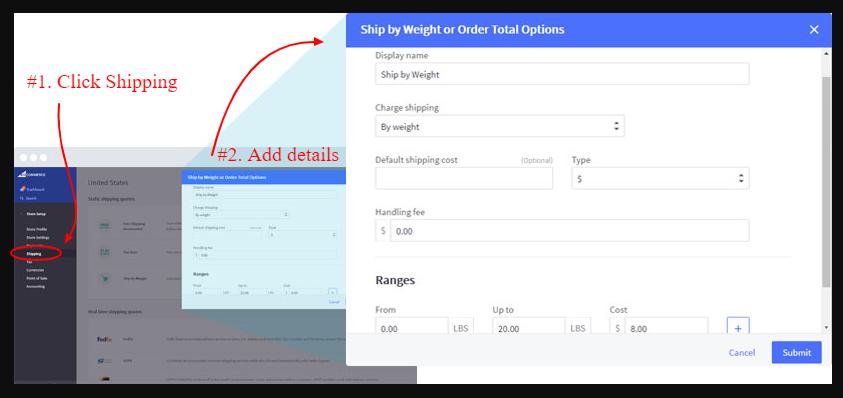 screenshot illustration of Bigcommerce Shipping page