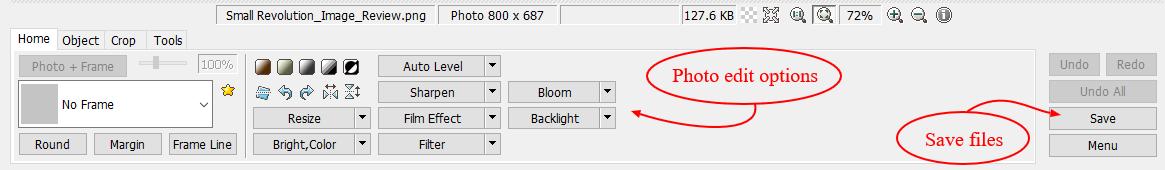 screenshot of Photoscape edit options