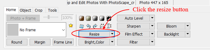 screenshot of Photoscape resize menu