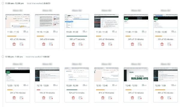 Screenshot from Hubstaff timer showing productivity