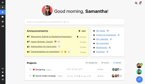 proofhub project management tool dashboard