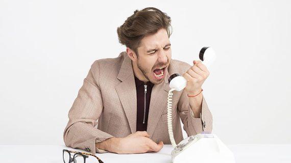 Man yelling to phone