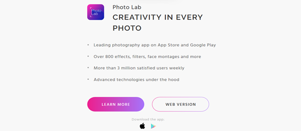 screenshot of Photo Lab application