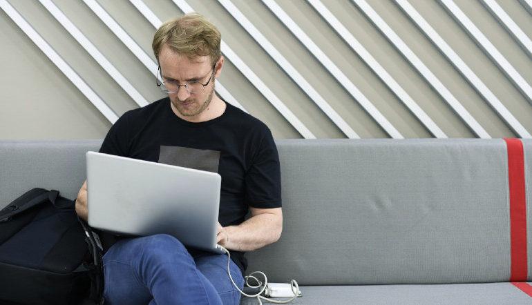 man working alone