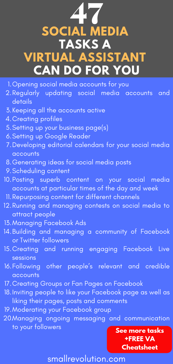 47 Social Media tasks a Virtual Assistant can do for you