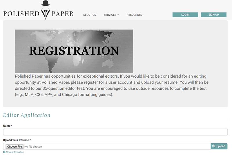 Polished Paper registration form