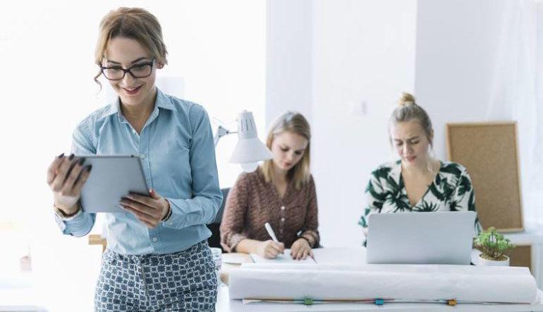women busy working
