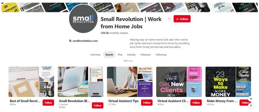 screenshot of Small Revolution Pinterest main page