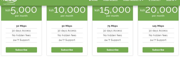 Faiba4g.co.ke internet connection plan