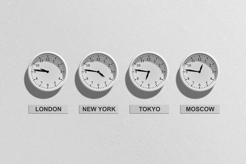 clock set to different time zones