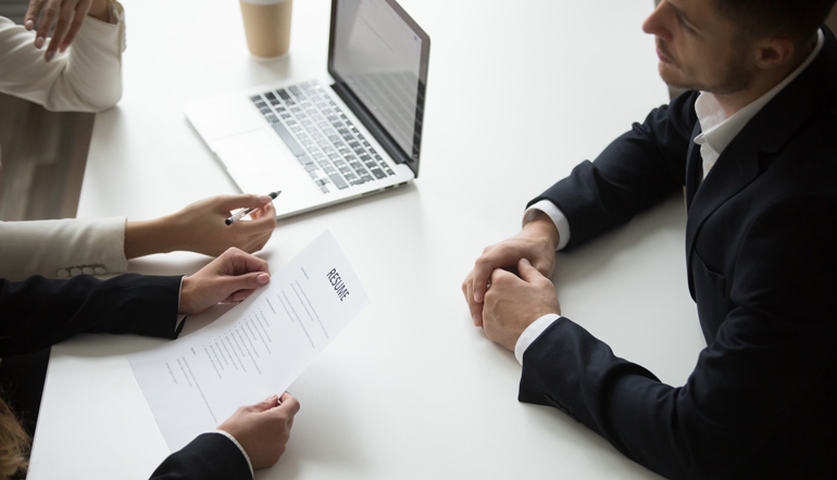 person interviewing
