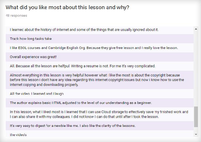 screenshot of student survey