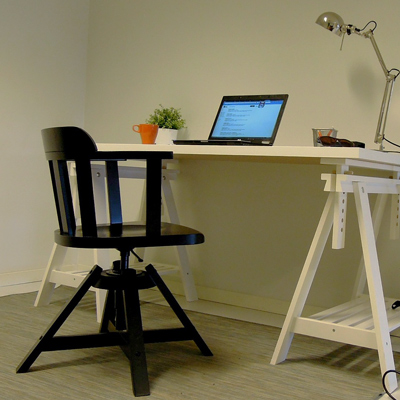 black chair and white work desk