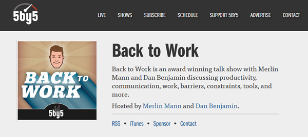 screenshot from Back to Work webpage