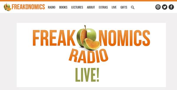 screenshot from Freakonomics Radio Live webpage