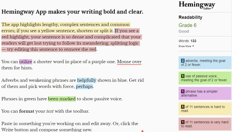 Hemingway App makes your writing bold and clear