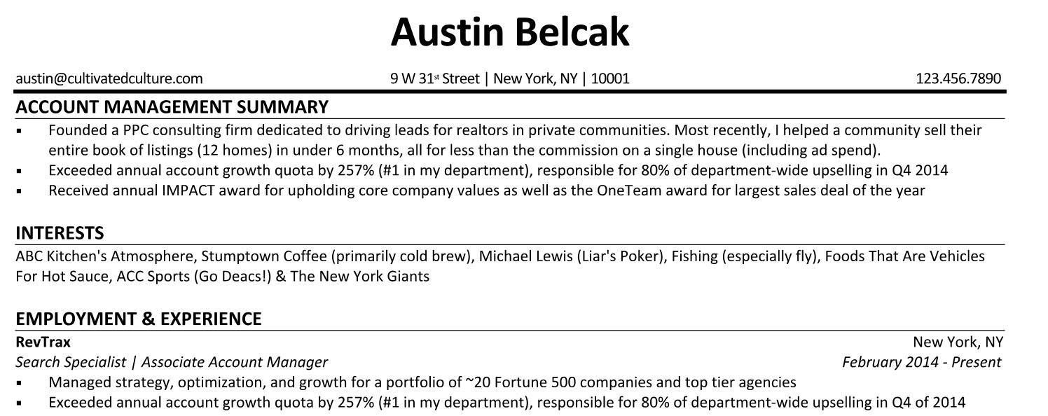 Austin Belcak Resume