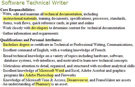 Software technical writer job highlights