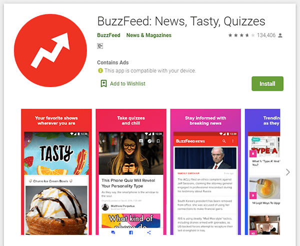 Download BuzzFeed News App from Goolge Play Store