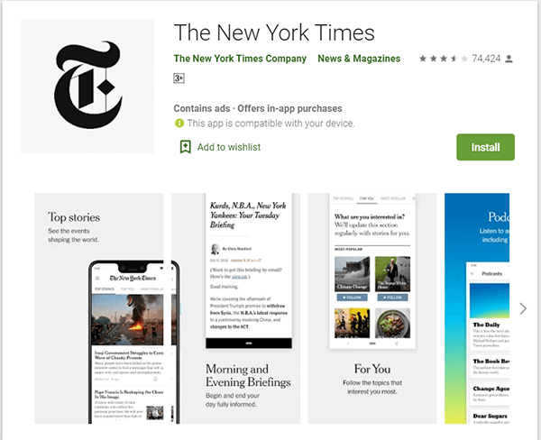 Download New York Times App from Google Play Store