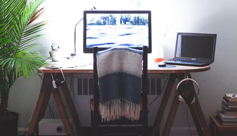 black flat screen computer