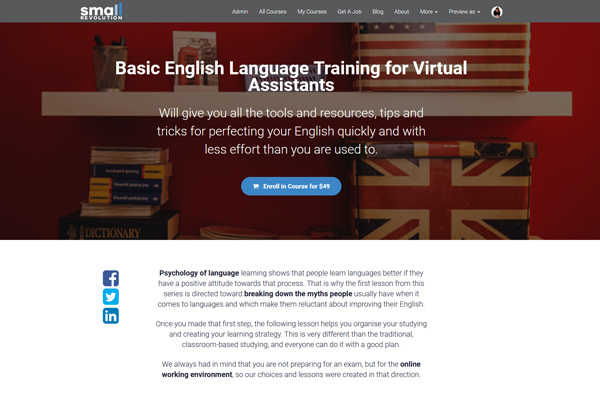 basic english language training for virtual assistants