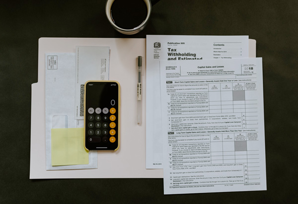 tax paper and calculator on the table