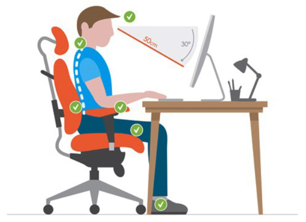 illustation of proper sitting position
