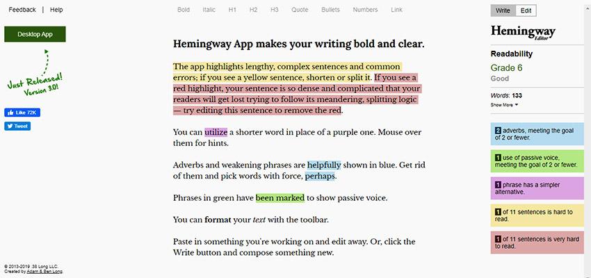 Hemingway editor page