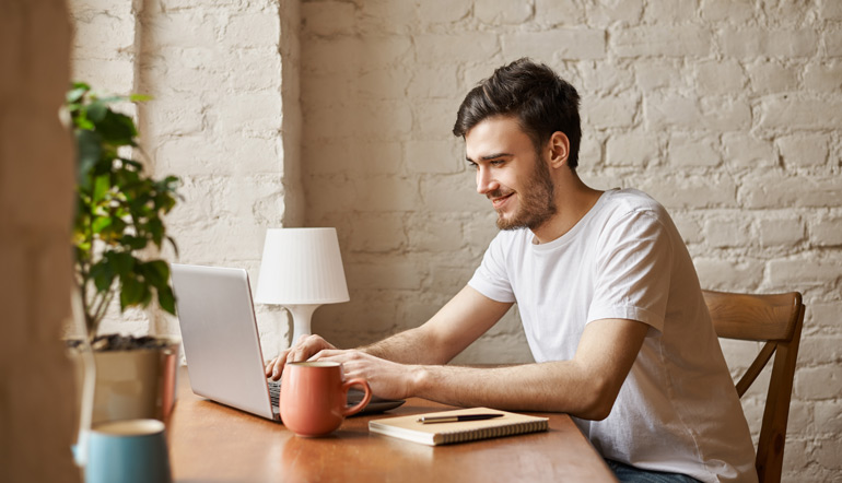 Man using laptop while working