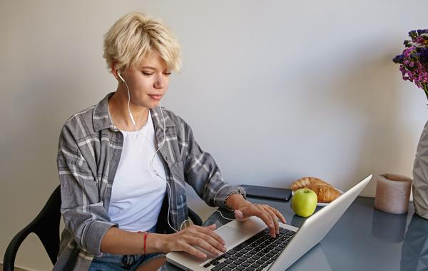 woman working using laptop