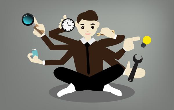 man businessman multitasking