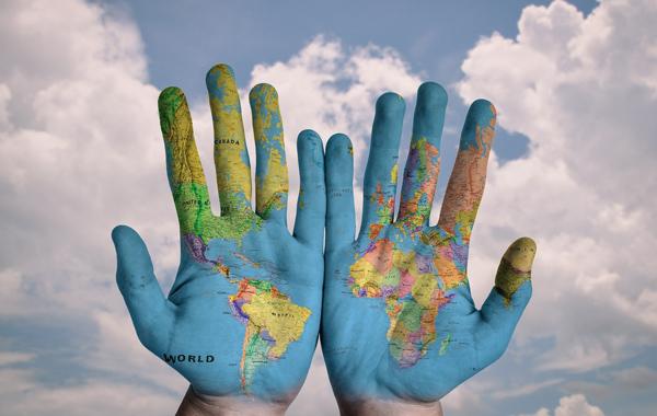 hand world map